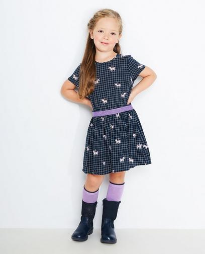 Nachtblauw geruite jurk
